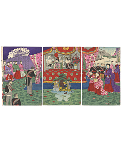 festival at meiji court, celebration, meiji emperor, court ladies