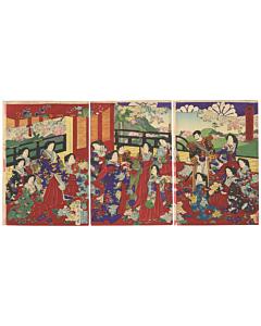 chikanobu yoshu, meiji emperor and empress, meiji era, beauty, japanese patterns, kimono