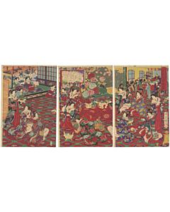 meiji period, beauty print, meiji red, triptych, japanese artist
