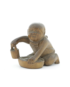 wooden netsuke, small boy
