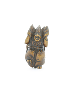 wooden netsuke, performer