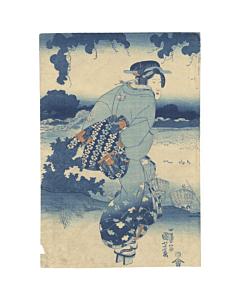 kuniyoshi utagawa, beauty, edo, aizuri-e, prussian blue