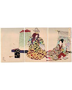 Chikanobu Yoshu, Noh Theatre, Chiyoda Palace, kimono, pattern, japanese woodblock print