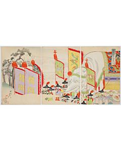 chikanobu yoshu, festival, elephant, chiyoda outer palace