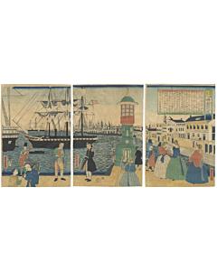 paris, landscape, travel, western, black ships, river, triptych