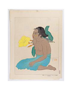 paul jacoulet, Jeune Fille de Saipan et Fleurs D'hibiscus. Marines, french artist