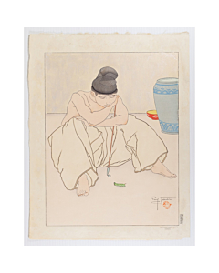 paul jacoulet, La Chenille Verte, Corée, green caterpillar, korea, french artist