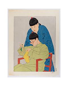 paul jacoulet, La Balance. ''Chinois'', china, french artist