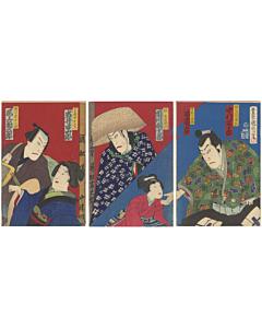 kunichika toyohara, kabuki theatre, japanese actors, japanese design, pattern