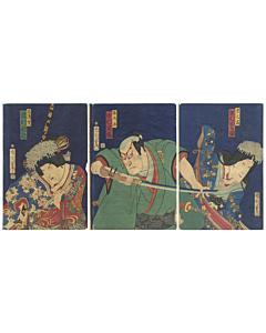 kunichika toyohara, kabuki theatre, japanese actors, performance, traditional culture, japanese sword, kimono