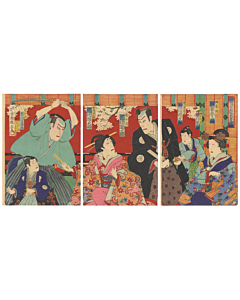 kunisada III Utagawa, kabuki play, japanese actors, traditional performance, traditional culture, japanese design