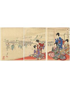 chikanobu yoshu, japanese rice cake, kimono design, japanese woodblock print, japanese antique