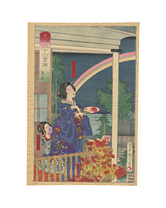 kunichika toyohara, beauties, famous restaurants, kimono design