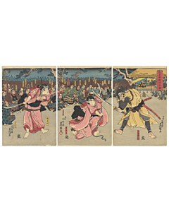 toyokuni III utagawa, revenge story, edo period, battle scene, naginata, long spear, shiraishi
