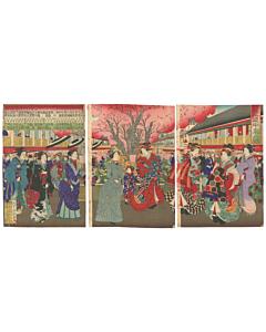 kunimasa IV utagawa, courtesans, yoshiwara, meiji, kimono fashion, japanese design, sakura tree, cherry blossom