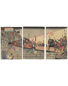 Yoshifuji Utagawa, Yoshitsune Faces Yoshimori at the Shijyo Ohashi Bridge