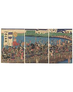 yoshitora utagawa, japanese warrior, japanese history, samurai, crossing the river, japanese armour, katana, edo period