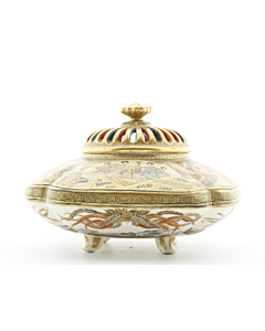 satsuma, incense burner, japanese antique, gold, porcelain, japanese artist, meiji period, handmade
