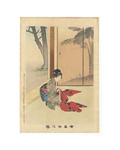 shuntei miyagawa, sewing, kimono, design, flowers of the floating world