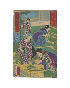 kunimasa baido, silk making process, kimono, fabric