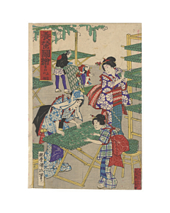 kunimasa baido, silk making, meiji, beauty, fabric, silk worms