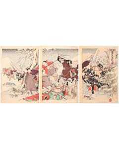 nobukazu yosai, snow, battle scene, japanese history, meiji era, japanese imperial army