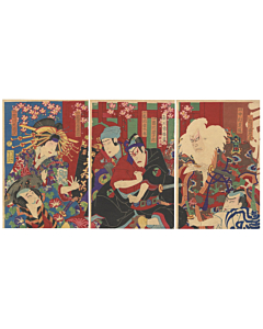 kuniume utagawa, sukeroku, famous kabuki play, traditional theatre, japanese design
