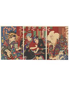 kuniume utagawa, sukeroku, famous kabuki play, traditional theatre, japanese design