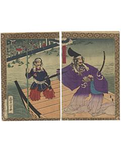 toyonobu, warrior, samurai, katana, japanese woodblock print