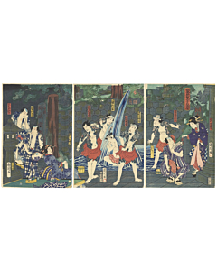 japanese woodblock print, irezumi, tattoo design, waterfall, kabuki, kunichika