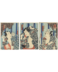 Kunichika Toyohara, Kabuki Actors at a Waterfall, Tattoo Design