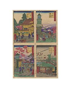 hiroshige III utagawa, landscape, meiji era, Kudanzaka, Ueno Toshogu, Shinagawa Bridge and Mount Atago