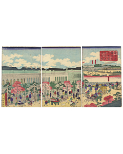 kuniteru utagawa, shimbashi station, meiji era, steam train, locomotive, travel