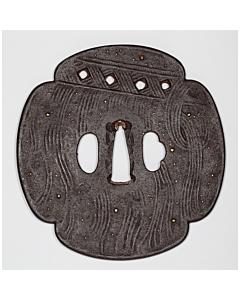 tsuba, iron, mokko shape, sword fitting, japanese sword, swordsmith, katana, artisan