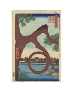 Hiroshige I, Moon Pine, Ueno, Landscape, japanese woodblock print