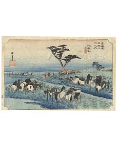 Hiroshige I, Summer Horse Fair, Landscape, Animals, Original Japanese woodblock print