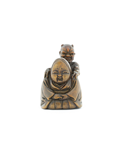 Wooden Netsuke, Oni Massages Okame, Demon, Goddess, Traditional, Ornament, Figurine, Carving, Original Japanese antique