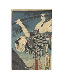 kunichika toyohara, tattoo design, kabuki actor, japanese woodblock print, antique