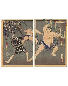 yoshitoshi utagawa, japanese firemen, sumo wrestler, tattoo design, japanese woodblock print
