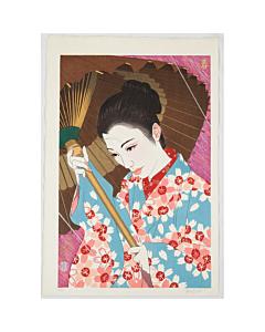 japanese woodblock print, paul binnie, spring, sakura, cherry blossom, beauty, umbrella, portrait