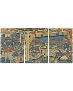 Yoshikazu Utagawa, Meeting Demons of Oeyama, Warrior, Legend, Triptych, Yokai, Original Japanese woodblock print