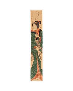 Yoshikazu Utagawa, Hashira-e, Hanetsuki, kimono, japanese woodblock print