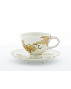 Yabu Meizan, Satsuma Cup & Saucer, Red Maple Leaves, Botanical, Japanese art, Japanese antiques, ceramics