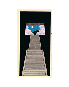 teruhide kato, stairways, spring moon, contemporary, japanese woodblock print