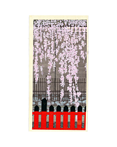 teruhide kato, contemporary art, japanese woodblock print, sakura, cherry blossom