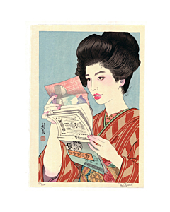 japanese woodblock print, contemporary art, portrait, hairstyle, paul binnie