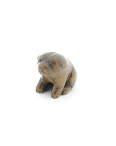 Wooden Netsuke, Puppy, Animal, Figurine, Carving, Original Japanese antique
