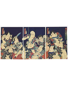 Toyokuni III Utagawa, Kabuki Actors, Suikoden Heroes, Tattoo Design, japanese woodblock print
