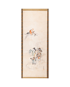 Gekko Ogata, Seven Lucky Gods, Hanging Scroll, Japanese antique, japanese folklore