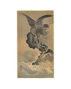 Koson Ohara, Eagle on a Rocky Shore, Japanese woodblock print, japanese antique, bird